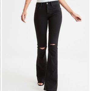 American Eagle High Waisted Slim Flare Jean  Black